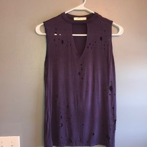 Purple Cut Off Tank with Holes
